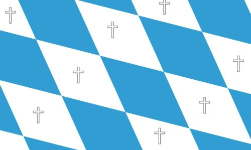 Bayrische Flagge mit Kreuzen